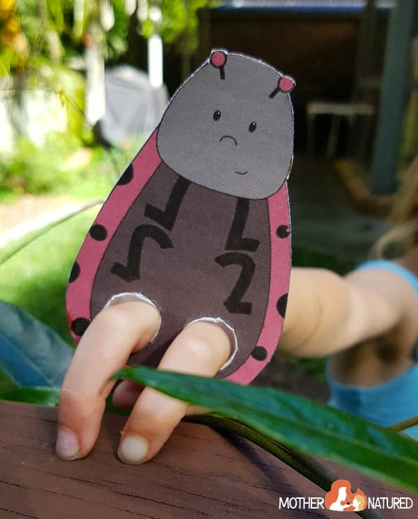 Lady beetle finger puppet printable