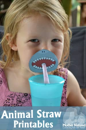 Animal Straw Party Printable - Shark, warthog and snake