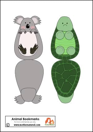 Koala and Turtle Bookmark