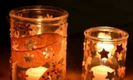 Hole punched nature candle holders