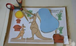 Kangaroo and joey puppet play set