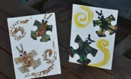 Animal puzzle craft: recycle those puzzle pieces!