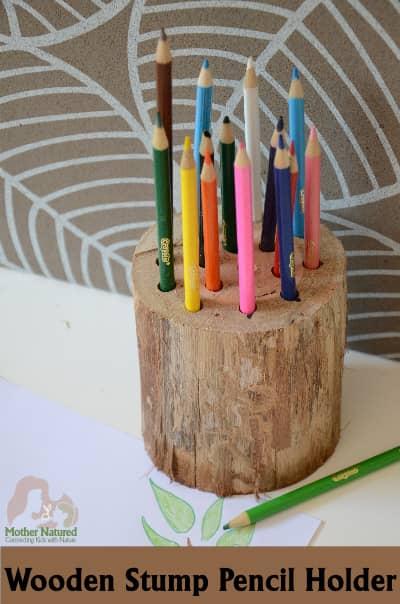 DIY Stump Pencil Holder