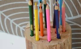 Wooden stump pen or pencil holder