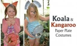 Koala and kangaroo paper plate costumes