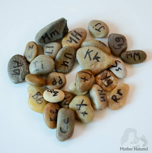 Literacy with Natural Materials rocks