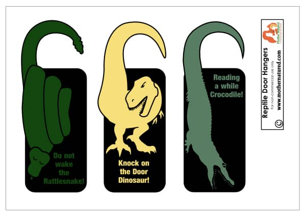 Reptile Door Hangers for Kids  sc 1 st  Mother Natured & Printable reptile door hangers that kids will RAWR for!