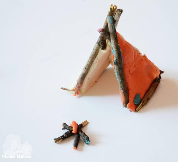 Playdough and stick teepee