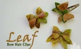 Nature leaf bow hair clips