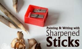 Writing with sharpened sticks and paint