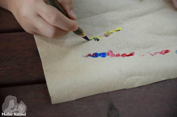 Nature Crafts Writing with sharpened sticks