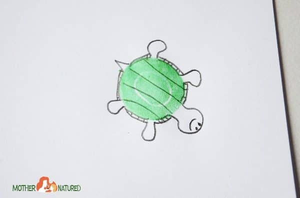 Easy stamp turtle craft to encourage creativity