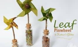 DIY leaf pinwheels
