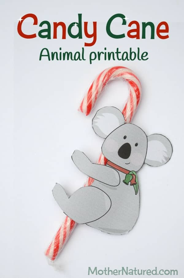 printable candy cane animal tags