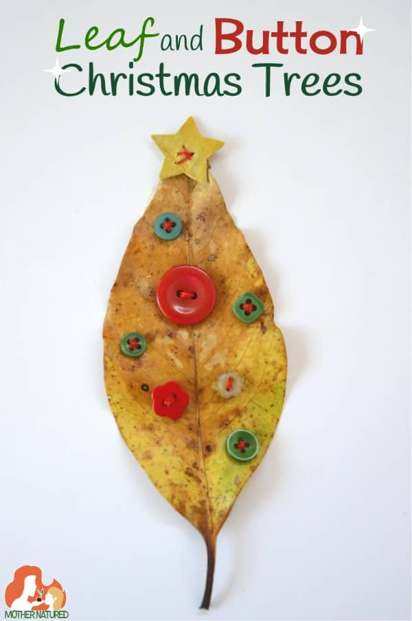 Leaf and Button Christmas Trees