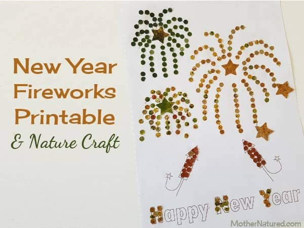 New Year Fireworks Printable & Nature Craft