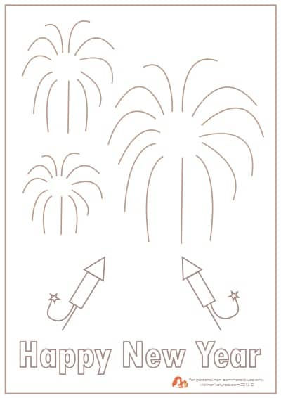 New Years Day fireworks printable