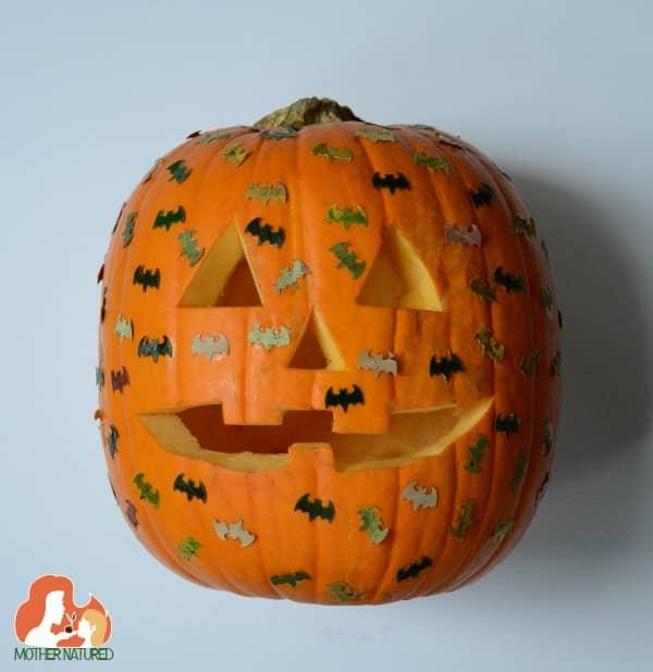 Pumpkin decorating bat leaves