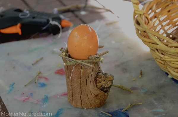Glue sticks to make bird nest