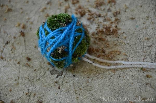 Earth moss ball wrap with yarn