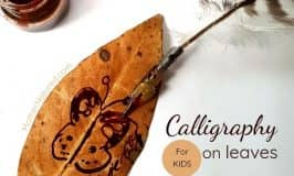Calligraphy play with homemade quills and leaves