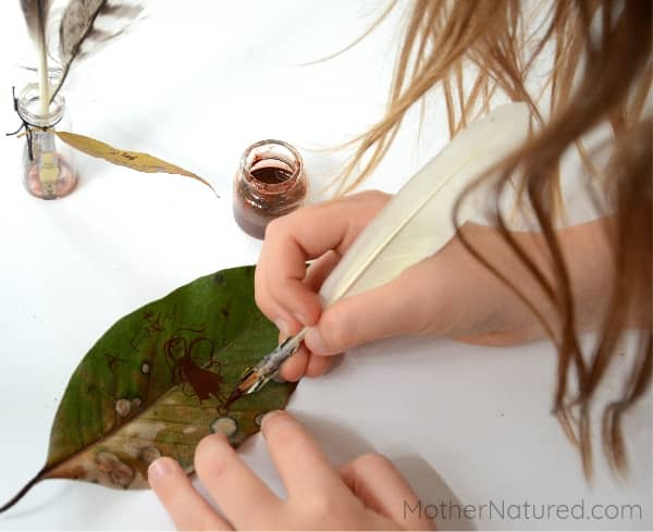 Writing on leaves for kids