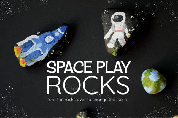 Painted Space rocks for kids