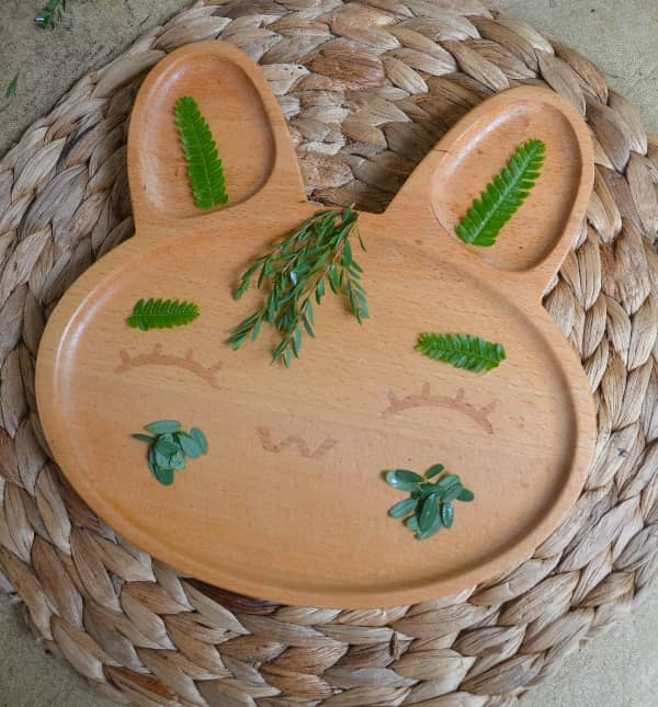 Bunny Wood Plate for Kids