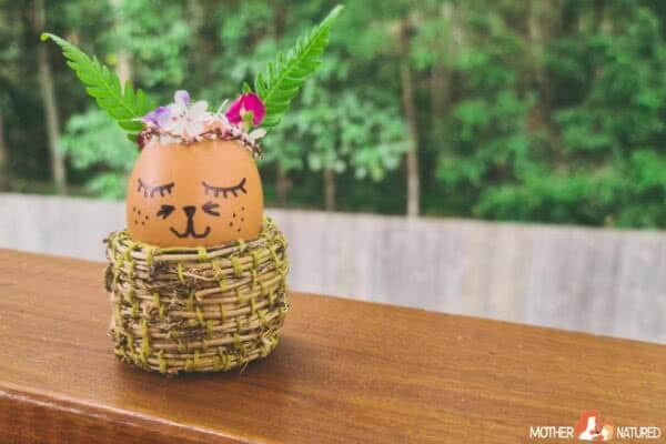 Nature Bunny Craft Using Eggs and Leaves